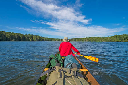 Paddling into the Wilderness on Crooked Lake in the Sylvania Wilderness in Michigan Stock Photo
