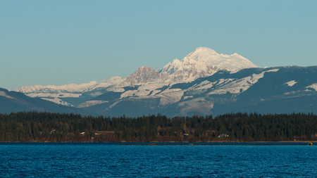 padilla: Winter view of Mount Baker with Padilla Bay in the foreground. Stock Photo