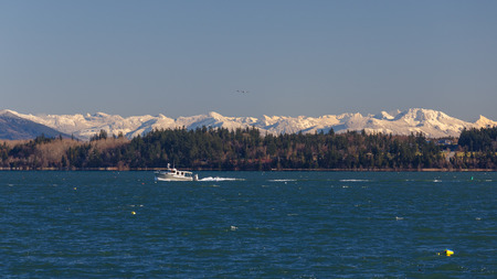 padilla: A winter view across Padilla Bay with boat passing by, evergreen trees by the shoreline, and snow covered mountains in the background.
