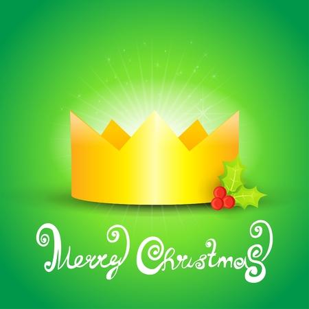 christmas crown: Tarjeta de celebraci�n corona de Navidad. Vectores