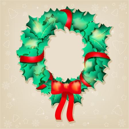 robbon: Christmas greeting card, vector illustration Illustration