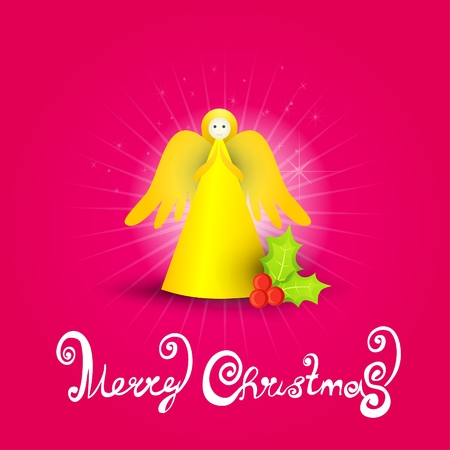 christmas celebration: Christmas celebration angel card. Stock Photo