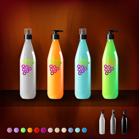 Mockup template for branding and product designs. Isolated realistic plastic bottles with dispenser spray and unique fruit design. Иллюстрация
