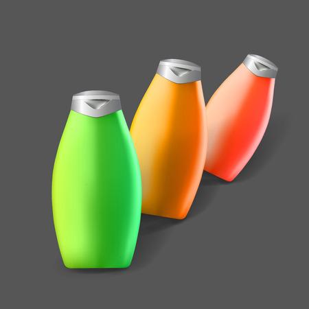 Plantilla de Mockup para diseños de marcas y productos. Aislado botellas de plástico realista con diseño único.