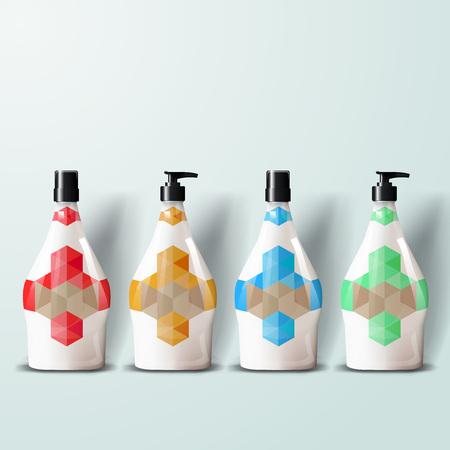 Mockup plantilla para la marca y diseños de productos. Aislado botellas de plástico realistas con spray de dispensador y diseño único.