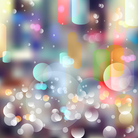Vector abstract defocused bokeh lights background. Festive blurred background with bokeh effect for parties. Illustration