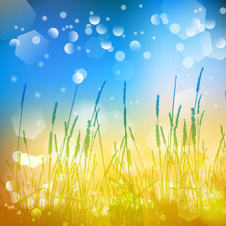 Vector abstract defocused bokeh lights nature spring summer background.