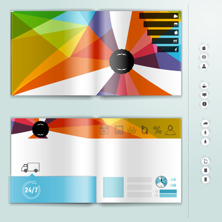 mag: Corporate booklet promotion template with color elements. Vector company brochure business style for advertising, report or guideline. Illustration
