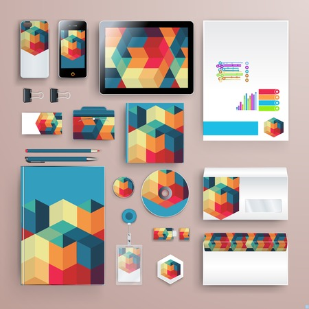 Corporate identity template with color elements. Vector company business style for brandbook, report and guideline. 版權商用圖片 - 78910800