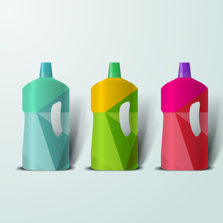 Mockup template for branding and product designs. Isolated realistic plastic bottles with unique geometric design.