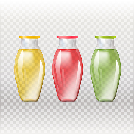 household goods: Mockup template for branding and product designs. Isolated realistic glass transparent bottles with unique design. Illustration