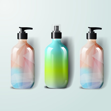 Mockup template for branding and product designs. Isolated realistic plastic bottles with dispenser spray and unique geometric design. Иллюстрация
