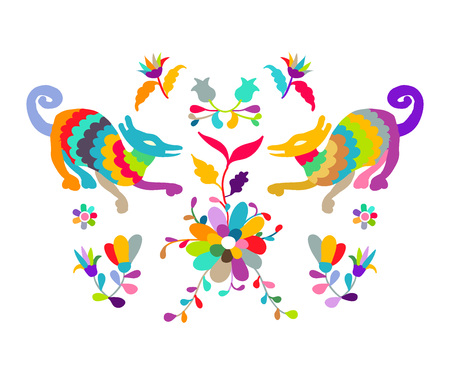 Vector folk Mexican Otomi Style embroidery Pattern Illustration
