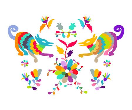 Vector folk Mexican Otomi Style embroidery Pattern Illusztráció