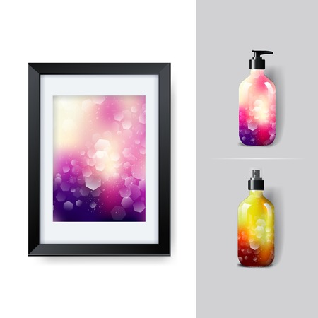 posicionamiento de marca: Mockup template for branding and product designs. Isolated realistic plastic bottles with dispenser spray and unique geometric design. Vectores