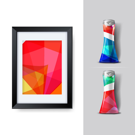 Mockup plantilla para la marca y diseños de productos. Aislado botellas de plástico realista con diseño geométrico único. Fácil de usar para la publicidad de marca y marketing. Eps 10