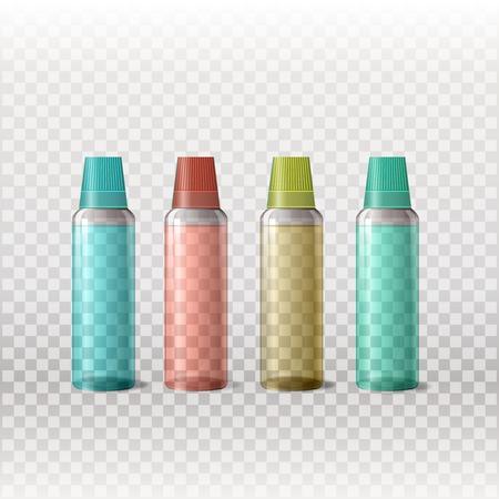 posicionamiento de marca: Mockup plantilla para la marca y diseños de productos. Aislado botellas transparentes de vidrio realista con diseño único. Fácil de usar para la publicidad de marca y marketing. Vectores