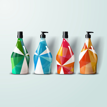 posicionamiento de marca: Mockup template for branding and product designs. Isolated realistic plastic bottles with dispenser spray and unique geometric design. Easy to use for advertising branding and marketing.