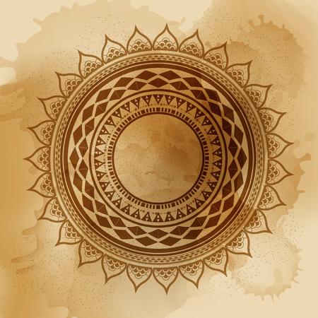幾何学的なマンダラ要素ベクトルで行われました。ヴィンテージの装飾的な要素。水彩画背景。イスラム教、アラビア語、インド、