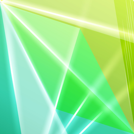 Abstract geometric gems and crystals glowing background with sparks and shining lines.