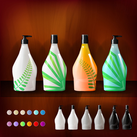 Mockup template for branding and product designs. Isolated realistic plastic bottles with dispenser spray and unique geometric design. Фото со стока - 79719147