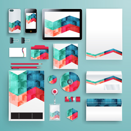 Corporate identity template with color elements. Vector company business style for brandbook, report and guideline. Vektoros illusztráció