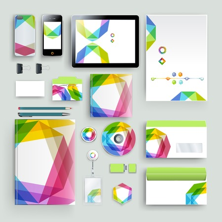 Modello di identità aziendale con elementi di colore. Stile di business della società vettoriale per il bookmark, il rapporto e la linea guida. Vettoriali