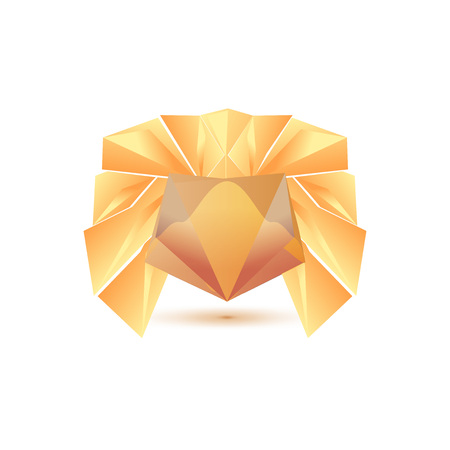 3d lion: Set of symbol and shapes. Trendy icons and logotypes. Business signs symbols, labels, badges, frames and borders