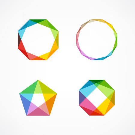 Ensemble de symboles et de formes. Des icônes et des logos à la mode. Business signe des symboles, des étiquettes, des badges, des cadres et des bordures