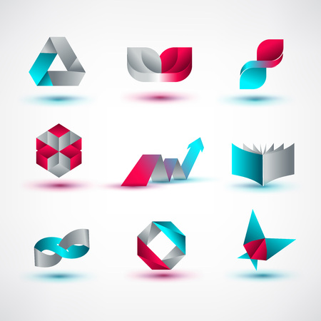 rainbow abstract: Set of symbol and shapes. Trendy icons and logotypes. Business signs symbols, labels, badges, frames and borders