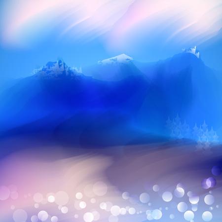 Lente en zomer aquarel mountaine achtergrond met glanzende sparks en bokeh. Vector illustratie, grafisch ontwerp bewerkbare voor uw ontwerp.
