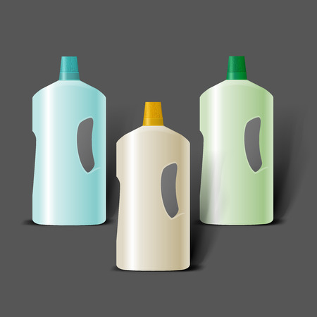 household goods: Mockup template for branding and product designs. Isolated realistic plastic bottles with unique design. Easy to use for advertising branding and marketing.
