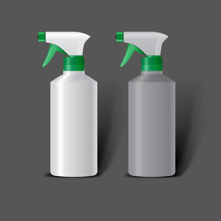 Mockup template for branding and product designs. Isolated realistic plastic bottles with dispenser spray and unique design. Easy to use for advertising branding and marketing.
