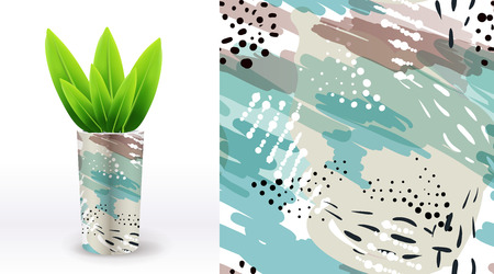 A set of summer seamless unique floral patterns, demonstrated on textile ceramic vase. Can be used for embroidery, print or silkscreen on fabric. Illustration