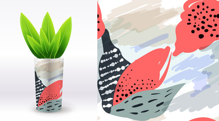 multiply: A set of summer seamless unique floral patterns, demonstrated on textile ceramic vase. Can be used for embroidery, print or silkscreen on fabric. Illustration