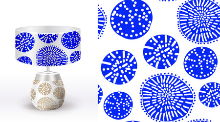 A set of summer seamless unique floral patterns demonstrated on textile ceramic vase. Can be used for embroidery, print or silkscreen on fabric. Illustration