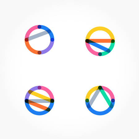 Set of minimal geometric multicolor shapes. Trendy hipster icons and logotypes. Business signs symbols, labels, badges, frames and borders