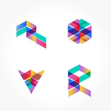 Ensemble de formes multicolores géométriques minimales. Logotypes et icônes branchées de hipster. Affaires signe des symboles, des étiquettes, des insignes, des cadres et des frontières. EPS 10