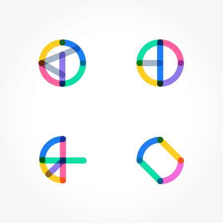 Set of minimal geometric multicolor shapes. Trendy hipster icons and logotypes. Business signs symbols, labels, badges, frames and borders. eps 10 Illustration