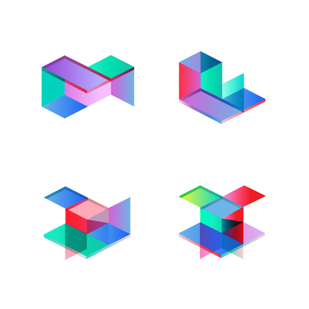 Set of minimal geometric multicolor shapes. Trendy hipster icons and logotypes. Business signs symbols, labels, badges, frames and borders. eps10 Illustration