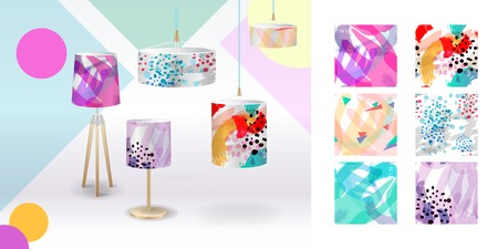 Set of summer seamless patterns demonstrated on textile lampshades