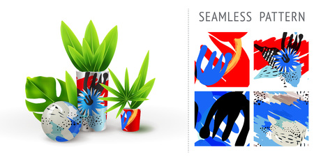 A set of summer seamless unique floral patterns, demonstrated on ceramic vase. Can be used for embroidery, print or silkscreen on fabric. Illustration