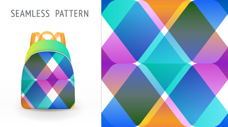 A set of summer seamless multicolor memphis patterns, demonstrated on textile backpack. Can be used for embroidery, print or silkscreen on fabric.. eps10