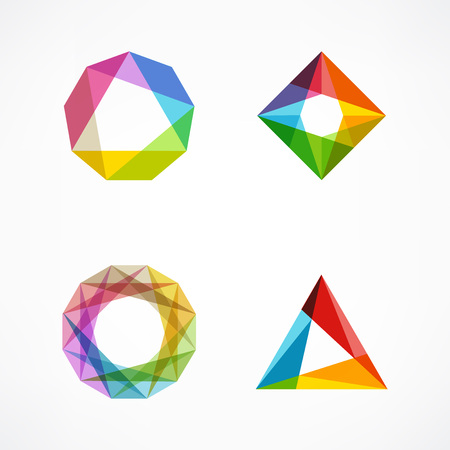 Set of symbol and shapes. Trendy icons and logotypes. Business signs symbols, labels, badges, frames and borders