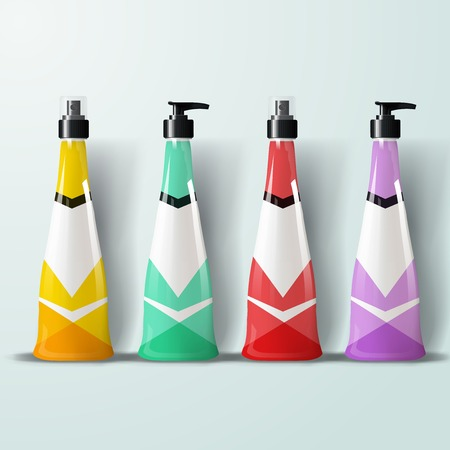 Mockup template for branding and product designs. Isolated realistic plastic bottles with dispenser spray and unique geometric design. Easy to use for advertising branding and marketing.