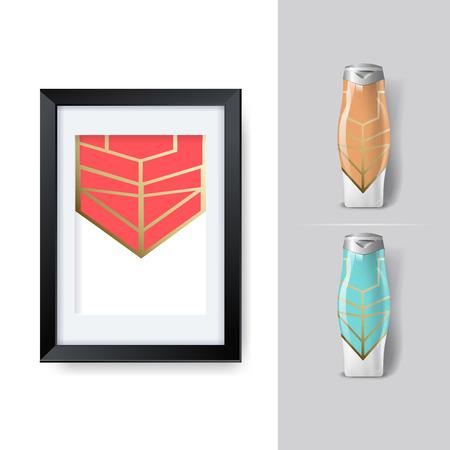 posicionamiento de marca: Mockup plantilla para la marca y diseños de productos. Aislado botellas de plástico realista con diseño geométrico único.