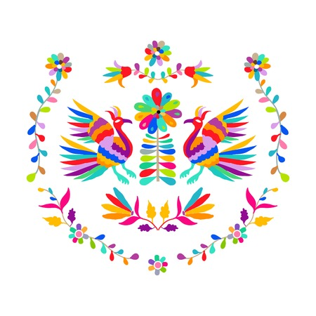 Vector folk Mexican Otomi Style embroidery Pattern 矢量图像