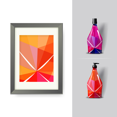 Mockup template for branding and product designs. Isolated realistic plastic bottles with dispenser spray and unique geometric design. Easy to use for advertising branding and marketing. eps 10