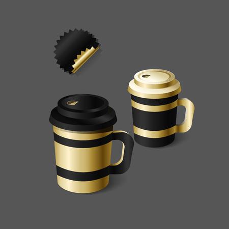 Mockup plantilla para la marca y diseños de productos. Copas realistas aisladas para el café o el té y diseño único. Fácil de usar para la publicidad de marca y marketing. Vectores