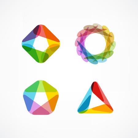 Set symbool en vormen. Trendy iconen en logo's. Bedrijfsborden symbolen, labels, badges, frames en grenzen Stockfoto - 81226834